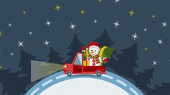 Delivery flat transport truck, van with gift box pack on white in xmas eve Stock Footage