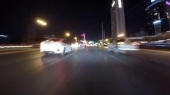 Las Vegas Night Driving Time Lapse on Flamingo Road Stock Footage