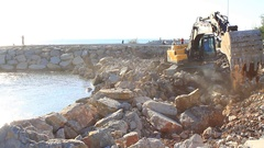 Formation of new land by filling the sea.  Stock Footage
