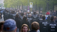 Hundreds of riot police officers march in Berlin, labor day, 1st of May Stock Footage