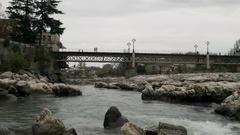 White Bridge in Kutaisi center, Georgia Stock Footage