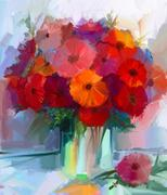 Oil painting red gerbera flowers in vase Stock Illustration