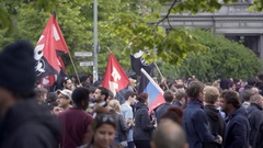 Antifascist left wing communist anarchist protesters, labor day, Berlin Stock Footage