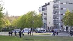 Riot police officers, 1st of May, labor day, Berlin, Germany Stock Footage