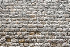Close up view of a textured stone wall of a historical building Stock Photos