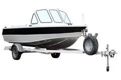 Motor boat on the trailer. Kuvituskuvat