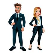Elegant boy and girl Stock Illustration