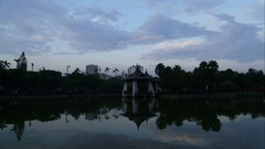 Pavilion at Taichung or Chungshan Park at sunset, time lapse Stock Footage