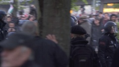 Extreme left wing communist anarchist protesters, labor day, Berlin Stock Footage