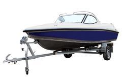 Blue motor boat. Kuvituskuvat