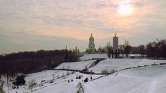 Winter landscape. Domes Of Kiev-Pechersk Lavra. Stock Footage