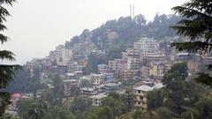 View of quiet mountain Himalaya mountain town, Mcleod Ganj, India Stock Footage