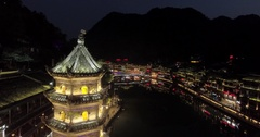 Night Aerial Shot of Fenghuang Ancient Town in China Stock Footage