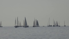 4K Boat sail in group at sailing school expensive hobby sea adventure relaxation Stock Footage