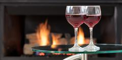 Red wine for the romantic occasion Stock Photos