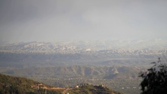 View of forest mountains horizon, Mcleod Ganj, Dharamsala, Himalaya, India Stock Footage