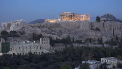 4K Famous Acropolis ancient icon at twilight illuminated Parthenon temple Athens Stock Footage