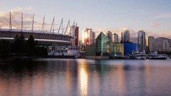 Day to Night Time Lapse of Vancouver BC Place Condos and Edgewater Casino Stock Footage