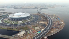 Aerial view of the stadium Zenit arena, most expensively in the world, FIFA Stock Footage