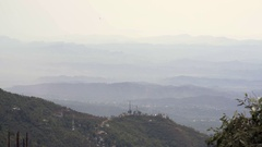 Mountains and hills in the horizon, view from Bhagsu, Dharamsala, India Stock Footage