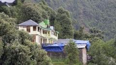 Guest house, Himalaya mountains, wind, rain weather, Dharamsala, India Stock Footage