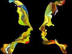 Metaphorical Self Fragmentation Stock Illustration