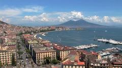 Naples, bay of Naples with Vesuvius Stock Footage