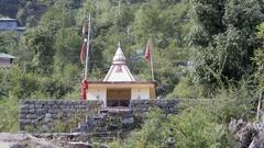 Hindu temple shrine in Himalaya mountains, Bhagsu, Dharamsala, India Stock Footage