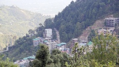 View of Bhagsu, road leading to Mcleod Ganj, Dharamsala, Himalayas, India Stock Footage