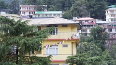 Mcleod Ganj cityscape buildings view, Himalaya mountain town, India Stock Footage