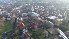 Tilting aerial view of a housing estate in Worcester, UK. Stock Footage