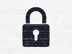 Information concept: Closed Padlock on wall background Stock Illustration