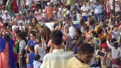 Happy crowd, colorful women dance, party at Wagah border ceremony, India Stock Footage