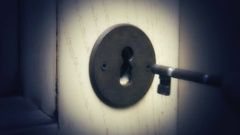 Key lock door insert sound Stock Footage