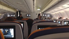 Inside the cabin of a plane Stock Footage