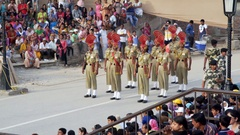 Wagah border ceremony, soldiers in formation, colorful uniform, India Stock Footage