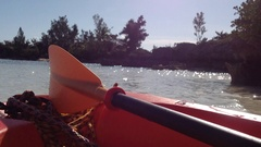 A kayak sits on the sea shore Stock Footage