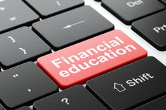 Education concept: Financial Education on computer keyboard background Stock Illustration
