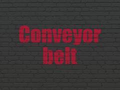 Manufacuring concept: Conveyor Belt on wall background Stock Illustration