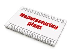 Manufacuring concept: newspaper headline Manufacturing Plant Stock Illustration