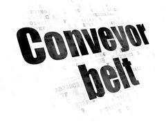 Manufacuring concept: Conveyor Belt on Digital background Stock Illustration