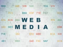 Web design concept: Web Media on Digital Data Paper background Stock Illustration