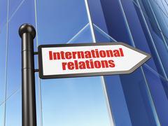 Politics concept: sign International Relations on Building background Stock Illustration