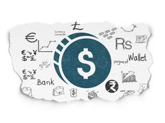 Banking concept: Dollar Coin on Torn Paper background Stock Illustration