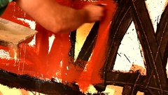 Man artist painting acrylic and oil paints in art studio. Abstract expressi.. Stock Footage