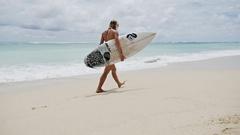 Girl Walking Perfect Beach Surfboard Slowmotion Stock Footage