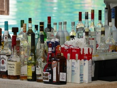 Mexico resort swimming pool bar alcohol DCI 4K Stock Footage