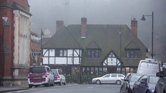 Typical English pub in the fog Stock Footage