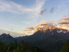 Timelapse of Sunset over mount Kinabalu in Sabah Borneo, Malaysia Stock Footage