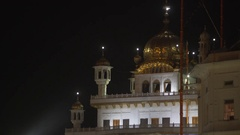 Golden dome, Golden Temple, Harmandir Sahib, night time, Amritsar, India Stock Footage
